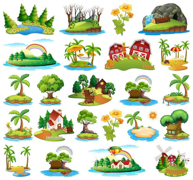 Set of nature island Free Vector