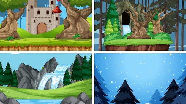 Set of nature landscape background background Free Vector