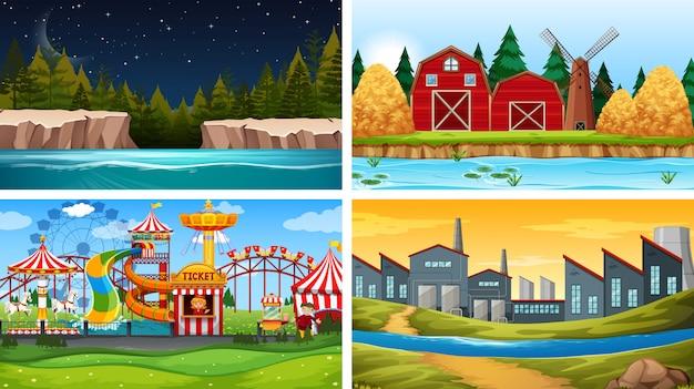 Set of nature landscape background Free Vector