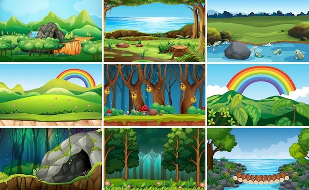 Set of nature landscape Free Vector