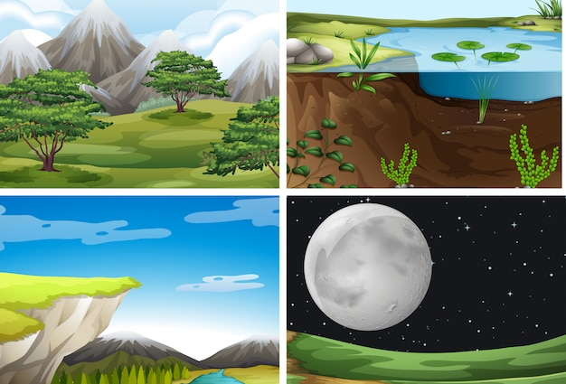 Set of nature landscape Premium Vector