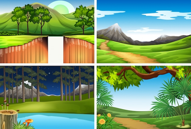 Set of nature landscape Free Vector