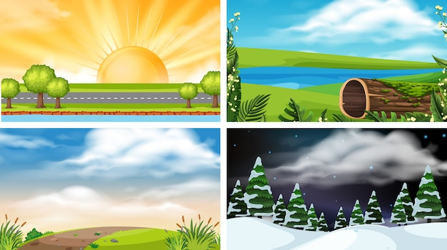Set of nature landscape Premium Vector