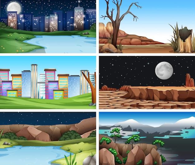 Set of nature landscapes background Free Vector