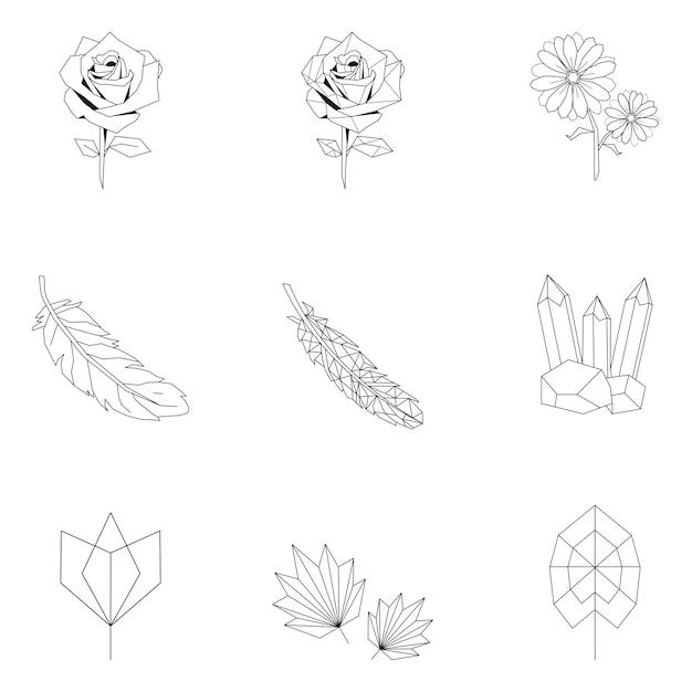 Set of nature linear illustration Free Vector