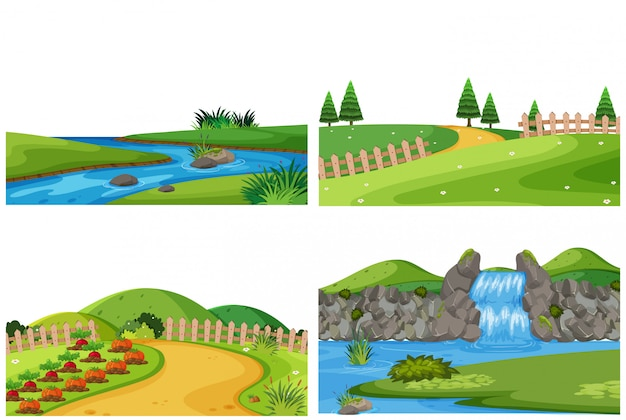 Set of nature outdoor landscape Premium Vector