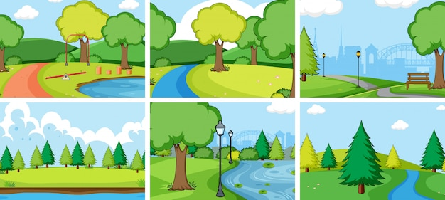 Set of nature park landscape Free Vector