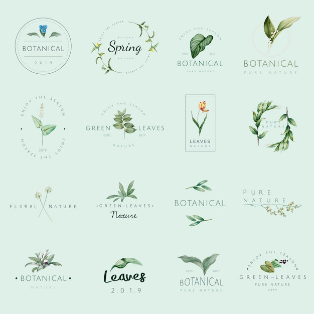 Set of nature and plant logo vectors Free Vector