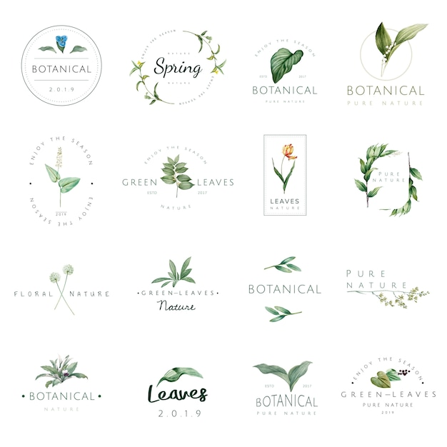 Set of nature and plant logo Free Vector
