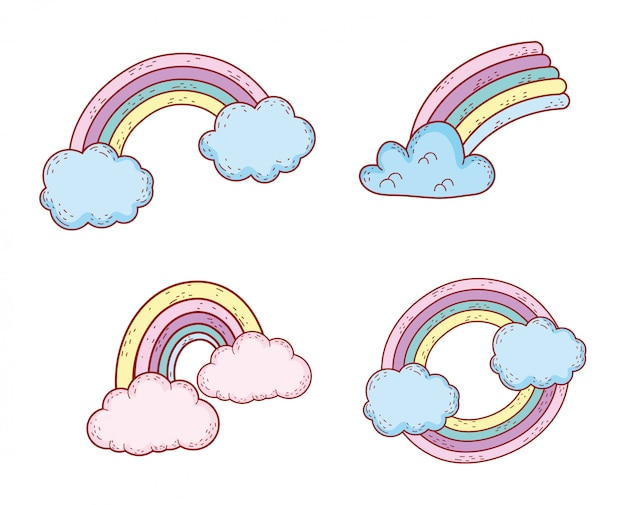 Set nature rainbow style weather with clouds Premium Vector