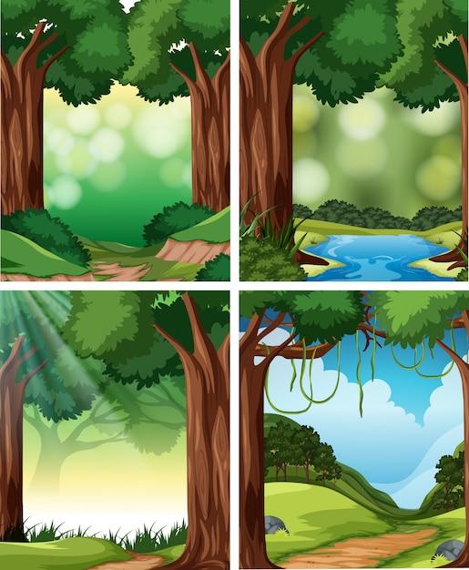 Set of nature scene Premium Vector