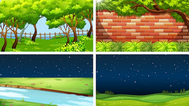 Set of nature scenes day nd night Free Vector