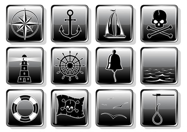 Set of nautical icons in flat design Premium Vector