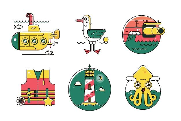 Set of nautical marine line color icon Premium Vector