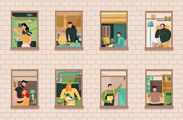 Set of neighbors during various activity in windows of house on brick wall Free Vector