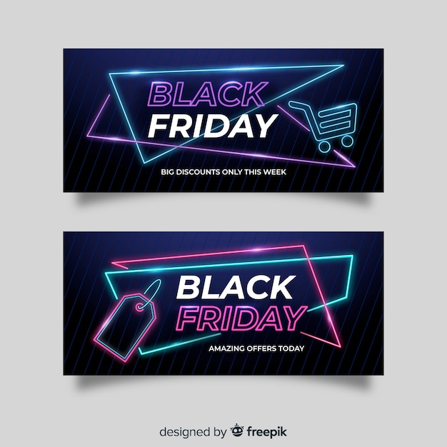 Set of neon black friday banners Free Vector