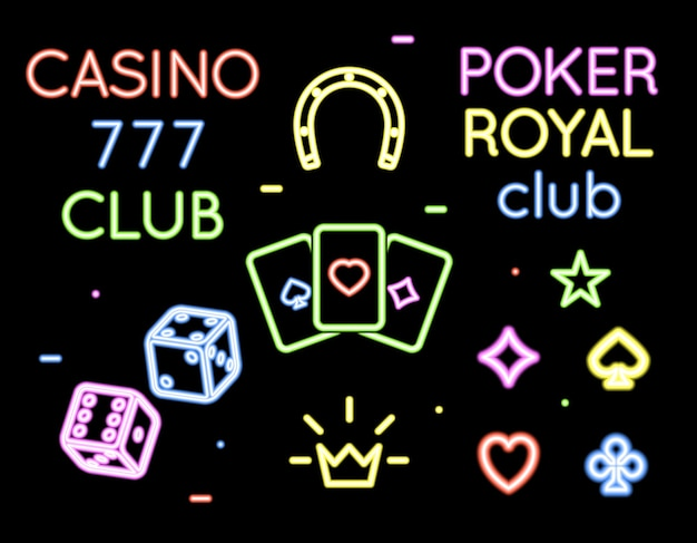 Set of  neon light logos of poker club and casino. gambling and card, game and play Free Vector