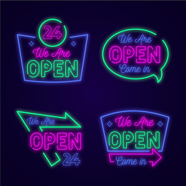 Set of neon lights with we are open signs Free Vector