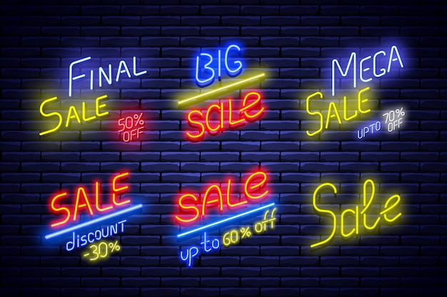 Set of neon sale banners on brick wall.  illustration. Premium Vector