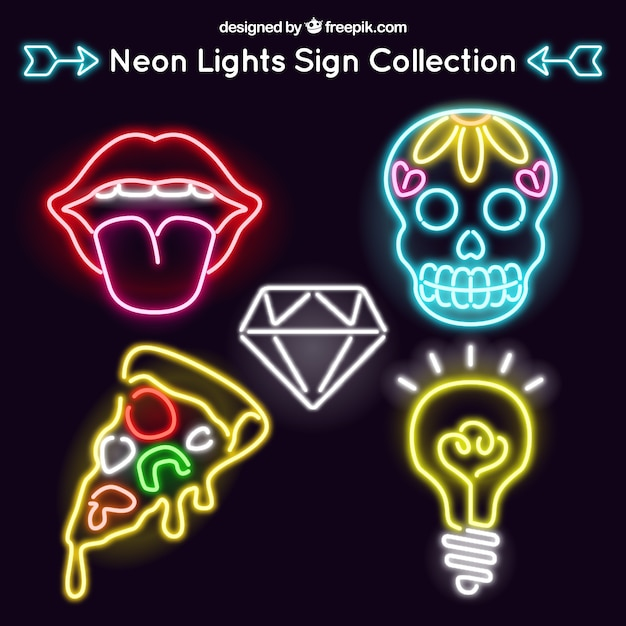 Set of neon signs in modern style Free Vector