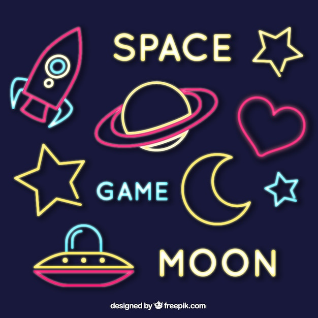 Set of neon space signs Free Vector