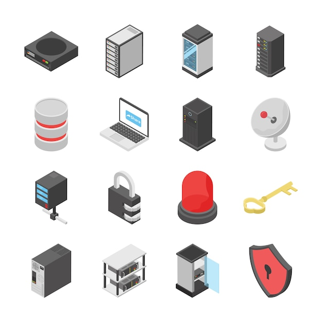 Set of network and connection devices icons Premium Vector