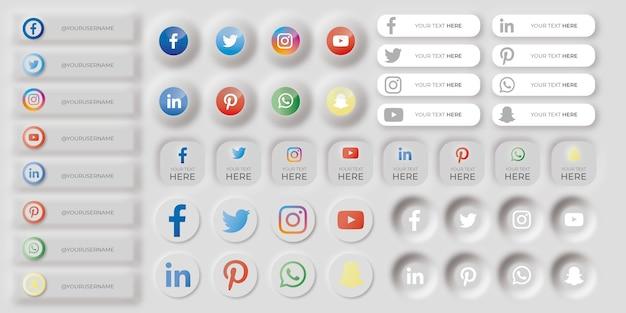 Set di icone neumorfiche dei social media Vettore gratuito