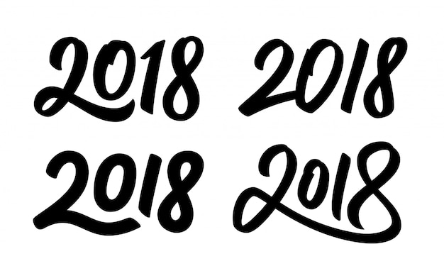 Premium Vector Set Of New Year 2018 Calligraphy Numbers