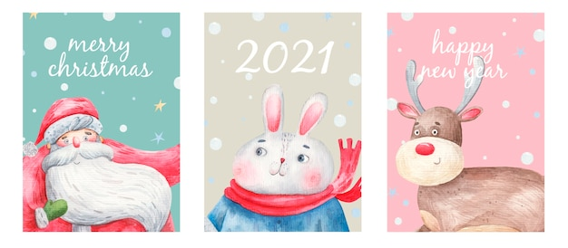 Set of new year and christmas cards, postcards, cute characters, santa claus, deer, bunny. Premium Vector