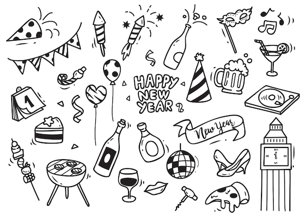 Set of new year doodle isolated on white background Premium Vector