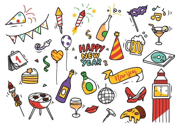 Set of new year doodle Premium Vector