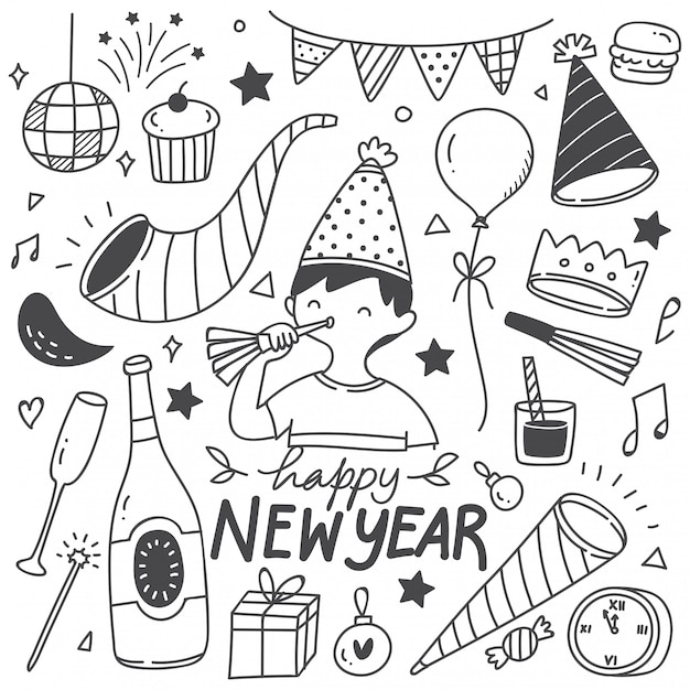Set on new year doodles Vector | Premium Download