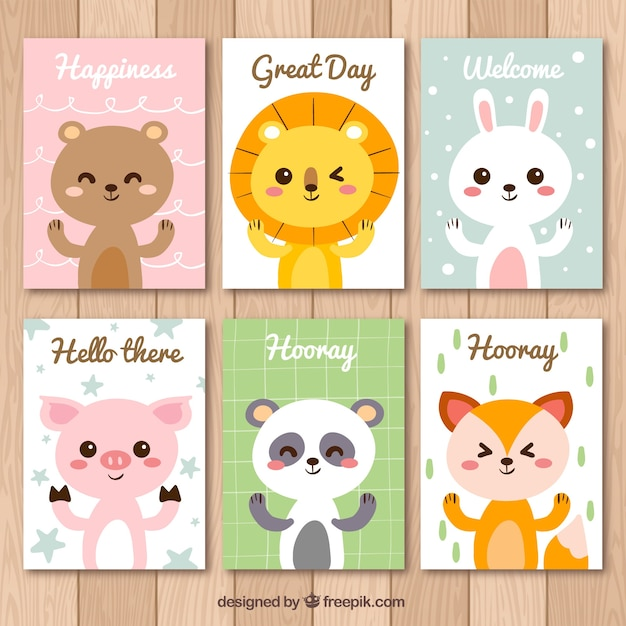 Set of nice animal cards with messages Free Vector