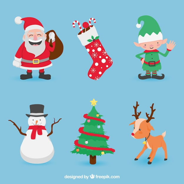 Set of nice christmas characters Free Vector