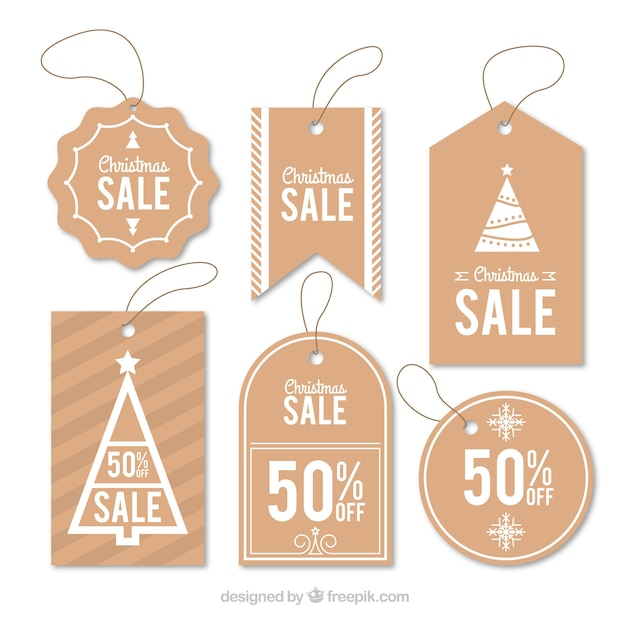 Set of nice christmas stickers for sale Premium Vector