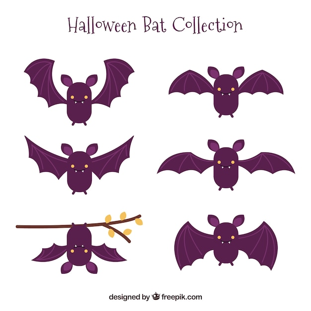 Set of nice hand drawn bats Free Vector