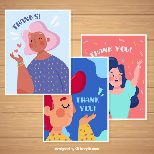 Set of nice thank you cards with characters Free Vector