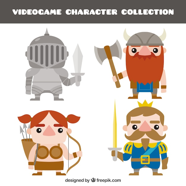 Set of nice videogame characters Free Vector