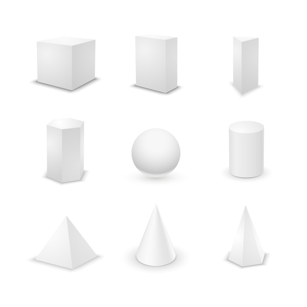 Set of nine basic elementary geometric shapes, blank 3d primitives isolated Premium Vector