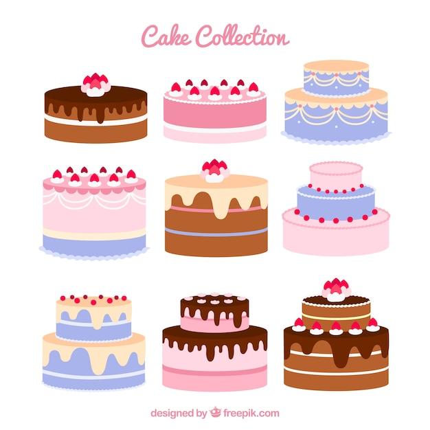 Set of nine birthday cakes Free Vector