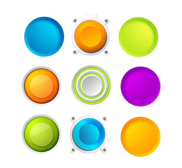 Set of nine blank colorful round buttons for website, internet or applications with eight small points around two ones Free Vector