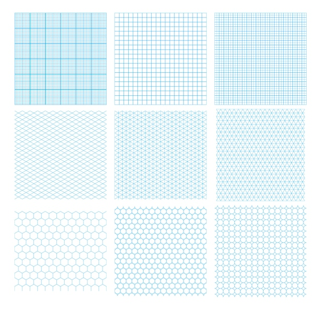 Set of nine cyan geometric grids, seamless patterns isolated . millimetric, isometric, hexagonal and circles. Premium Vector