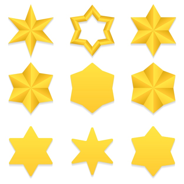 Set of nine different golden six point stars. Premium Vector