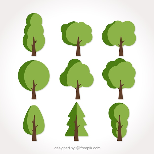 Set of nine flat trees in green tones Free Vector