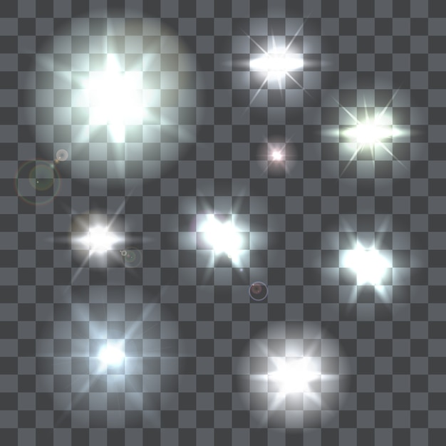 Set of nine lens flares beams and flashes on transparent background Premium Vector