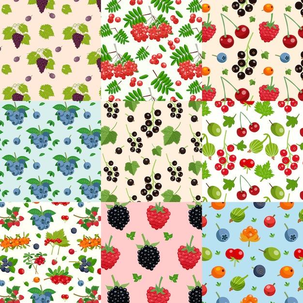 Set of nine seamless berries patterns Free Vector