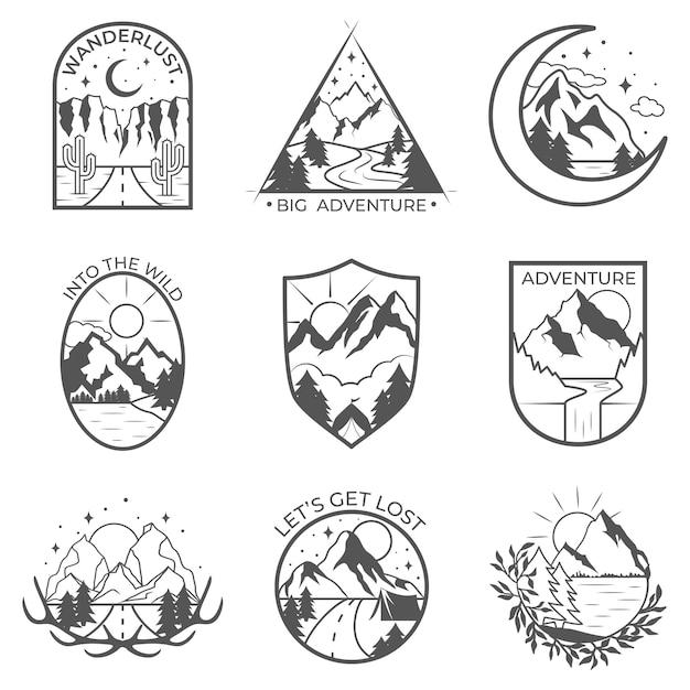 Set of nine vector mountain and outdoor adventures badges. Premium Vector