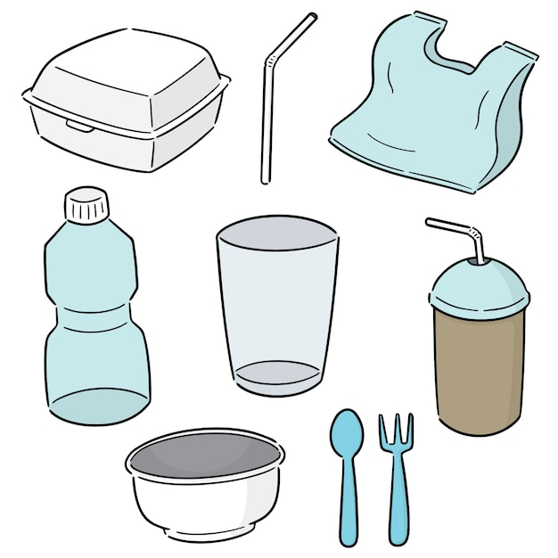 Set of non-biodegradable product Premium Vector