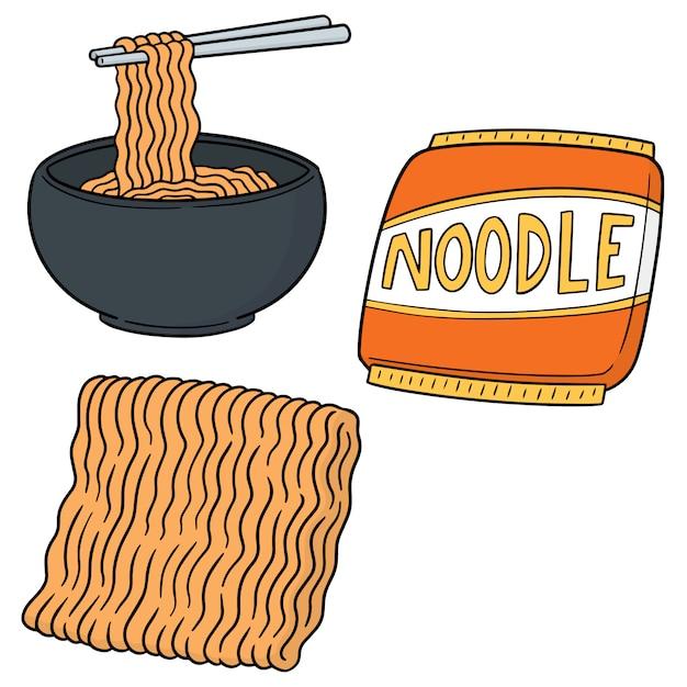 Set of noodle Premium Vector