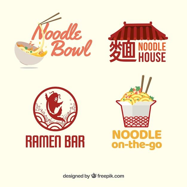 Set of noodles restaurant logos Premium Vector